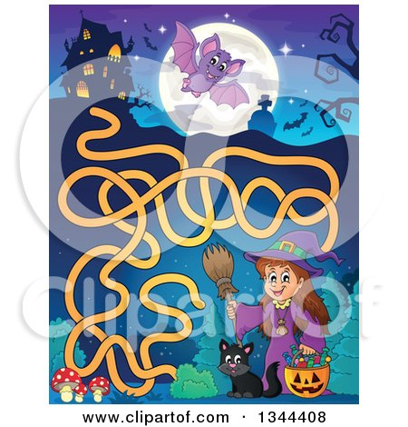 Clipart of a Cartoon Happy Witch Girl with a Jackolantern Pumpkin of Halloween Candy and a Black Cat Maze to a Haunted House - Royalty Free Vector Illustration by visekart
