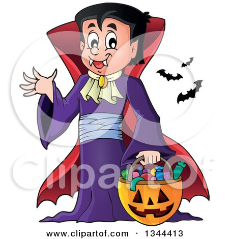 Clipart of a Cartoon Dracula Vampire Waving and Holding a Jackolantern Basket with Halloween Candy - Royalty Free Vector Illustration by visekart
