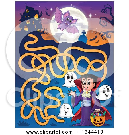 Clipart of a Cartoon Dracula Vampire Waving and Holding a Jackolantern Basket with Halloween Candy and Ghosts in a Maze Leading to a Haunted House - Royalty Free Vector Illustration by visekart