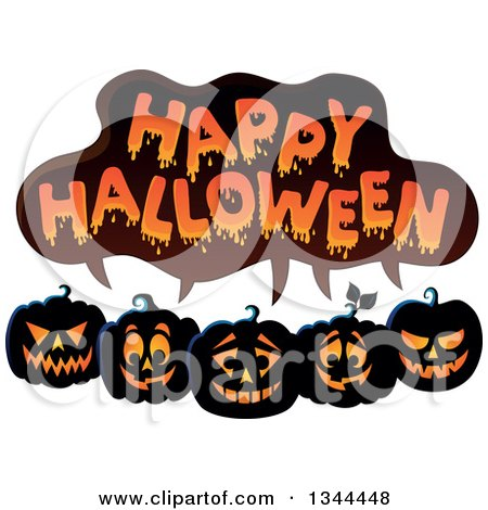 Clipart of a Row of Illuminated Jackolantern Pumpkins Under Happy Halloween Text - Royalty Free Vector Illustration by visekart