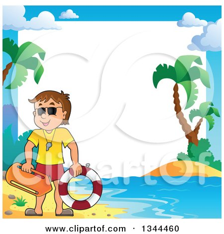 Clipart of a Happy Caucasian Male Life Guard on a Beach over a Border - Royalty Free Vector Illustration by visekart