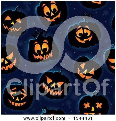 Clipart of a Seamless Background Pattern of Illuminated Halloween Jackolantern Pumpkins over Midnight Blue - Royalty Free Vector Illustration by visekart