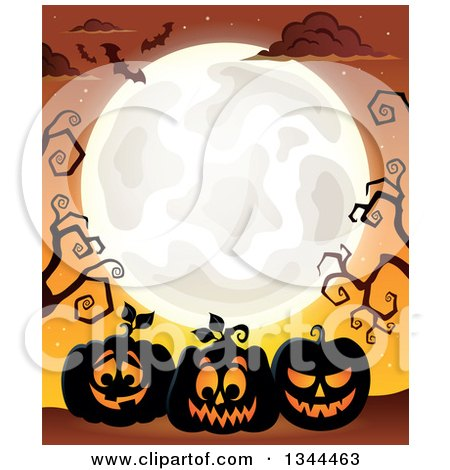 Clipart of Illuminated Halloween Jackolantern Pumpkins with Bare Tree Branches, Bats and a Full Moon over Orange - Royalty Free Vector Illustration by visekart
