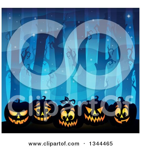 Clipart of a Blue Dark Misty Forest with Lit Halloween Jackolantern Pumpkins - Royalty Free Vector Illustration by visekart