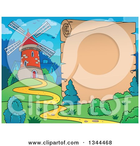 Clipart of a Windmill and House on a Hill Next to a Parchment Scroll - Royalty Free Vector Illustration by visekart