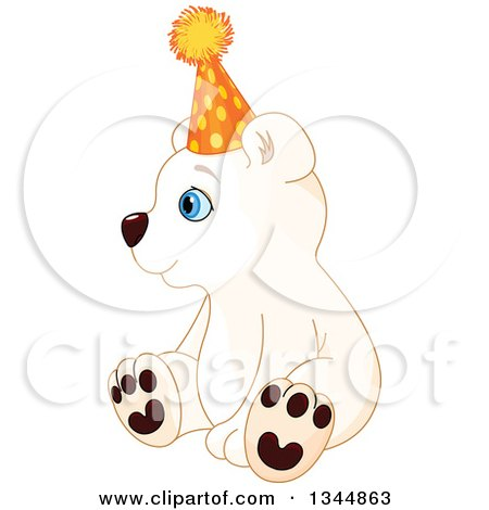 Clipart of a Cute Baby Polar Bear Cub Sitting, Wearing a Party Hat and Facing Left - Royalty Free Vector Illustration by Pushkin