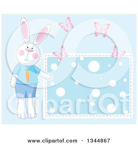Clipart of a Boy Bunny Rabbit and Butterflies by a Polka Dot Sign over Blue - Royalty Free Vector Illustration by Pushkin