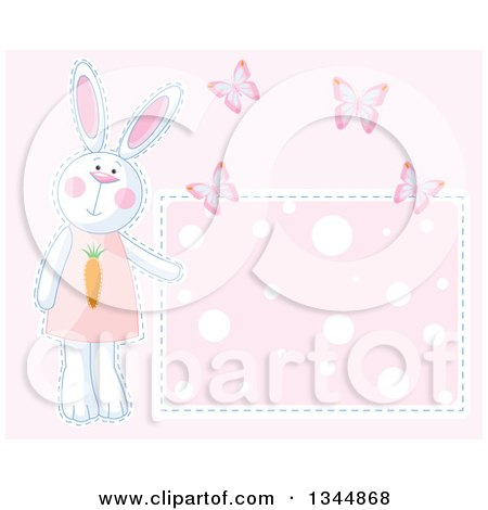 Clipart of a Girl Bunny Rabbit and Butterflies by a Polka Dot Sign over Pink - Royalty Free Vector Illustration by Pushkin