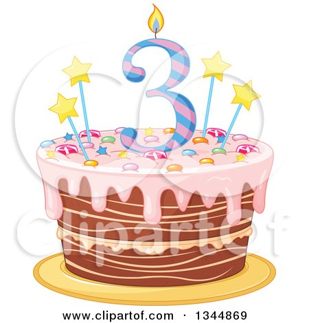 Clipart Of A Third Birthday Cake With Number Candle Stars Candy And Pink