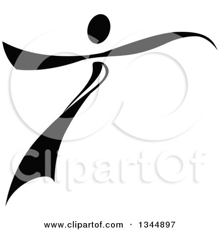 Clipart of a Black Figure Skater or Dancer 4 - Royalty Free Vector Illustration by Vector Tradition SM