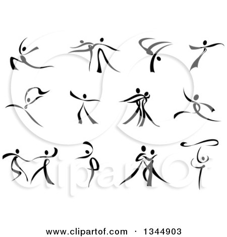 Clipart of Black and White Ribbon Dancers - Royalty Free Vector Illustration by Vector Tradition SM