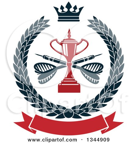 Clipart of a Red Trophy with Crossed Darts over a Blank Banner in a Wreath - Royalty Free Vector Illustration by Vector Tradition SM