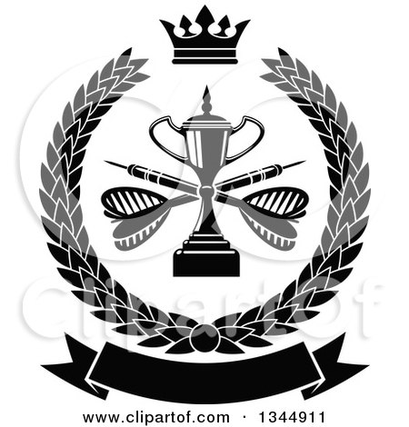 Clipart of a Black and White Trophy with Crossed Darts over a Blank Banner in a Wreath - Royalty Free Vector Illustration by Vector Tradition SM
