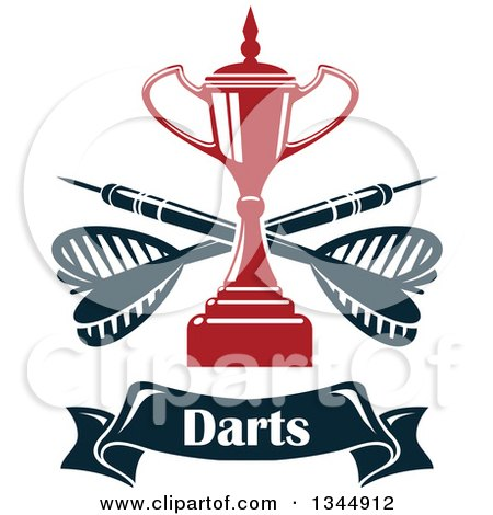 Clipart of a Red Trophy with Crossed Darts over a Text Banner - Royalty Free Vector Illustration by Vector Tradition SM