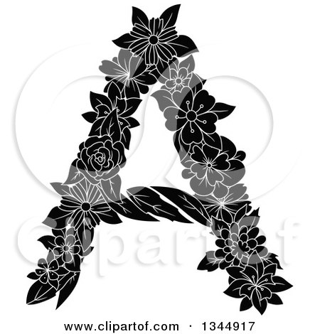 Clipart of a Black and White Floral Capital Letter a - Royalty Free Vector Illustration by Vector Tradition SM
