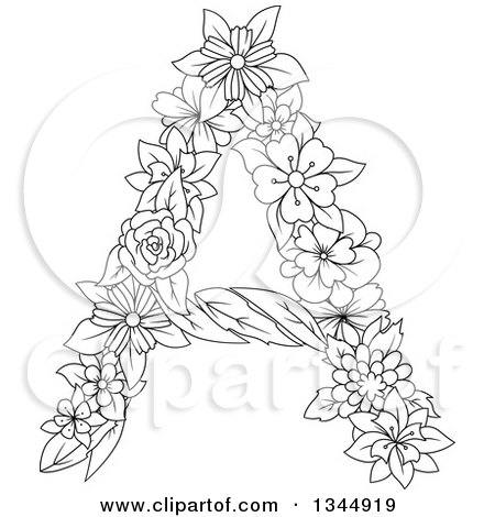 Clipart of a Black and White Outline Floral Capital Letter a - Royalty Free Vector Illustration by Vector Tradition SM
