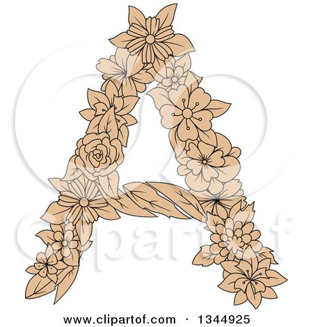 Clipart of a Black and Tan Floral Capital Letter a - Royalty Free Vector Illustration by Vector Tradition SM