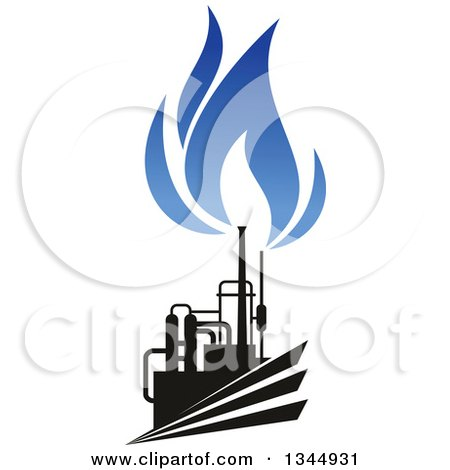 Clipart of a Black and Blue Natural Gas and Flame Design 23 - Royalty Free Vector Illustration by Vector Tradition SM
