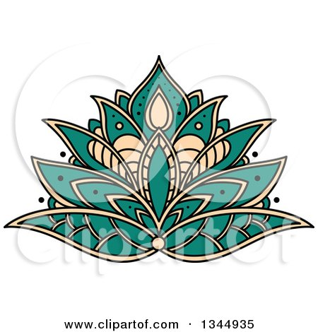 Clipart of a Beautiful Turquoise and Tan Henna Lotus Flower - Royalty Free Vector Illustration by Vector Tradition SM