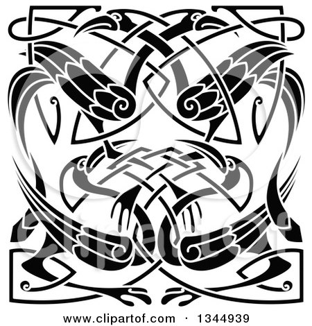 Clipart of Black and White Celtic Knot Cranes or Herons 2 - Royalty Free Vector Illustration by Vector Tradition SM