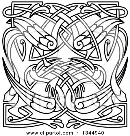 Clipart of Black and White Lineart Celtic Knot Cranes or Herons 2 - Royalty Free Vector Illustration by Vector Tradition SM