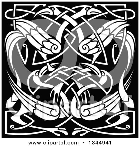 Clipart of White Celtic Knot Cranes or Herons on Black 2 - Royalty Free Vector Illustration by Vector Tradition SM