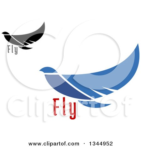 Clipart of Flying Black and Blue Peace Doves - Royalty Free Vector Illustration by Vector Tradition SM