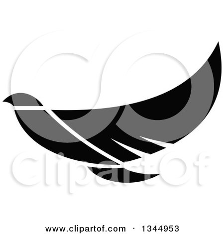 Clipart of a Black and White Flying Peace Dove - Royalty Free Vector Illustration by Vector Tradition SM