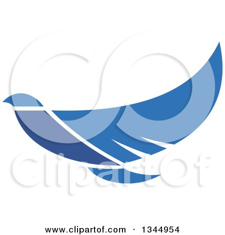 Clipart of a Blue Flying Peace Dove 3 - Royalty Free Vector Illustration by Vector Tradition SM