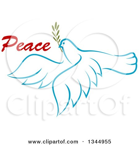 Clipart of a Sketched Light Blue Flying Peace Dove with a Branch and Text 4 - Royalty Free Vector Illustration by Vector Tradition SM
