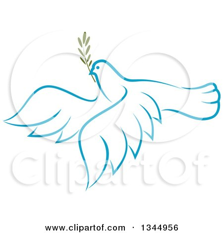 Clipart of a Sketched Light Blue Flying Peace Dove with a Branch 4 - Royalty Free Vector Illustration by Vector Tradition SM