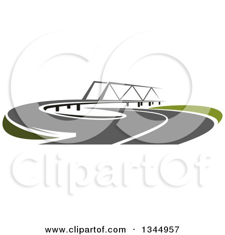 Clipart of a Curving Two Lane Road Leading to a Bridge 3 - Royalty Free Vector Illustration by Vector Tradition SM