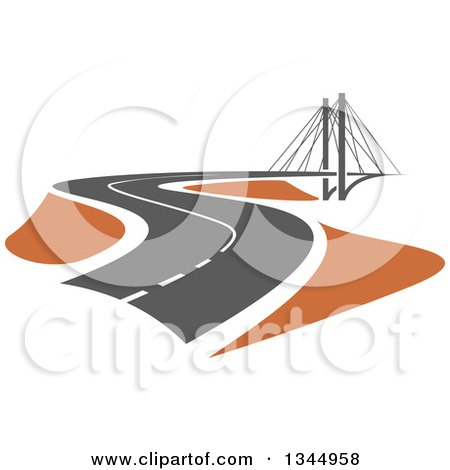 Clipart of a Curving Two Lane Road Leading to a Bridge 2 - Royalty Free Vector Illustration by Vector Tradition SM
