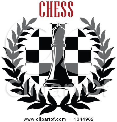 Clipart of a Black and White Chess Queen Piece over a Board in a Wreath Under Red Text 2 - Royalty Free Vector Illustration by Vector Tradition SM