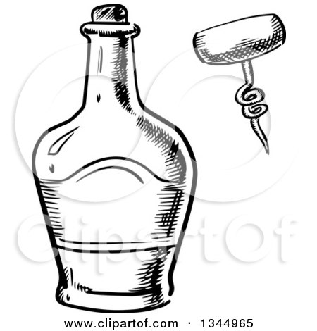 Clipart of a Black and White Sketched Whisky Bottle and Corkscrew - Royalty Free Vector Illustration by Vector Tradition SM