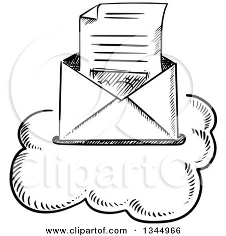 Clipart of a Black and White Sketched Letter in an Envelope on a Cloud - Royalty Free Vector Illustration by Vector Tradition SM