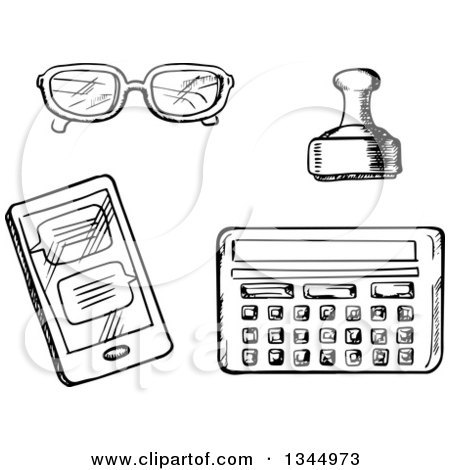 Clipart of a Black and White Sketched Calculator, Stamp, Smart Phone and Glasses - Royalty Free Vector Illustration by Vector Tradition SM
