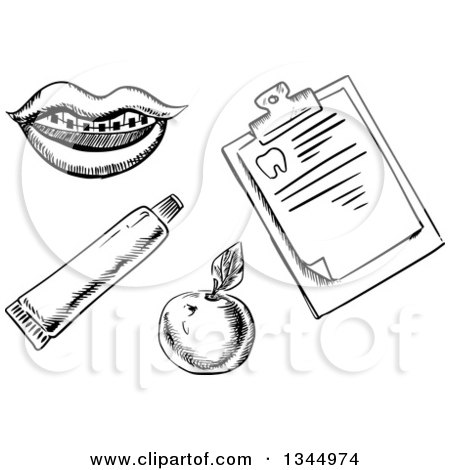 Clipart of a Black and White Sketched Mouth with Braces, Apple, Toothpaste Tube and Clipboard - Royalty Free Vector Illustration by Vector Tradition SM