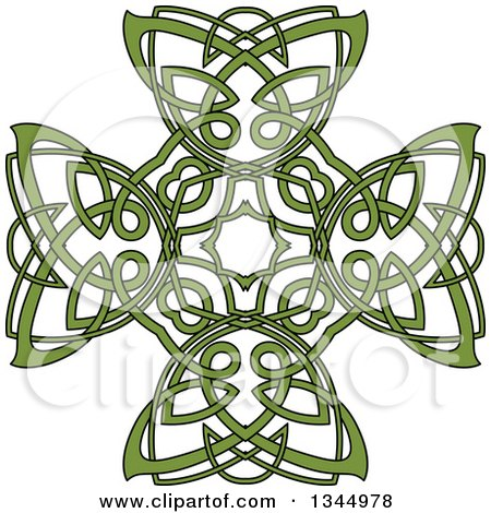 Clipart of a Green Celtic Knot Cross Design - Royalty Free Vector Illustration by Vector Tradition SM