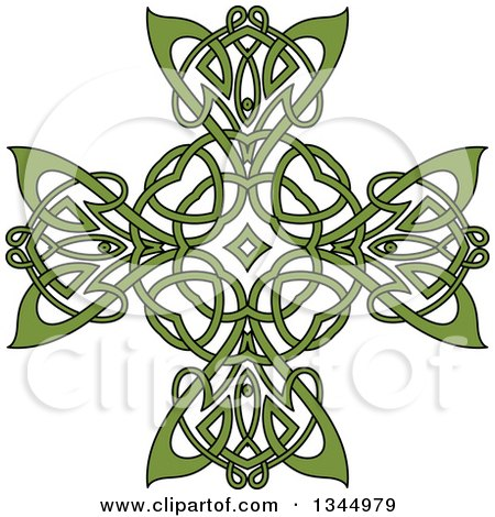Clipart of a Green Celtic Knot Cross Design 2 - Royalty Free Vector Illustration by Vector Tradition SM