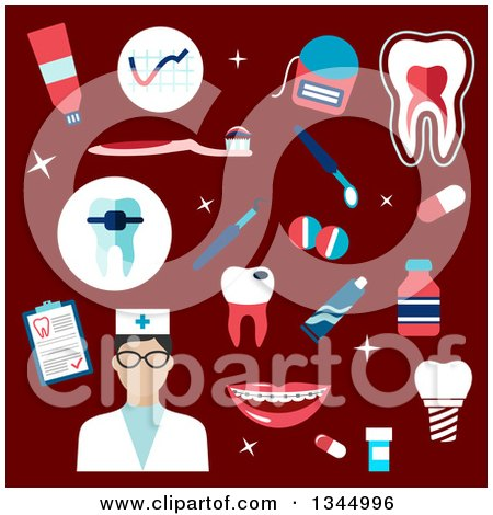 Clipart of a Flat Design Dentist or Nurse Avatar with Items on Red - Royalty Free Vector Illustration by Vector Tradition SM