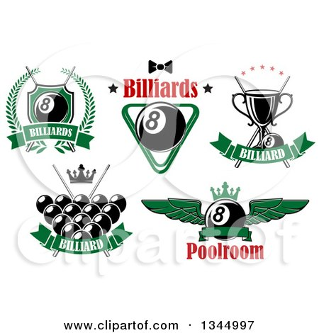 Clipart of Billiards Pool Eight Ball and Text Designs - Royalty Free Vector Illustration by Vector Tradition SM