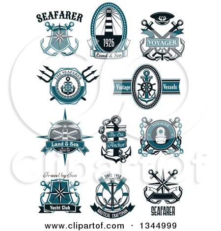 Clipart of Nautical Designs with Sample Text - Royalty Free Vector Illustration by Vector Tradition SM