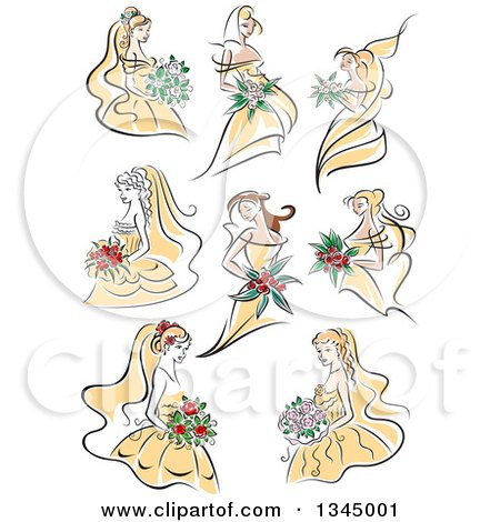 Clipart of Sketched Brides in Yellow Dresses - Royalty Free Vector Illustration by Vector Tradition SM