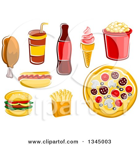 Clipart of Cartoon Fast Foods - Royalty Free Vector Illustration by Vector Tradition SM