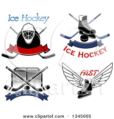Clipart of Ice Hockey Sports Designs and Text - Royalty Free Vector Illustration by Vector Tradition SM
