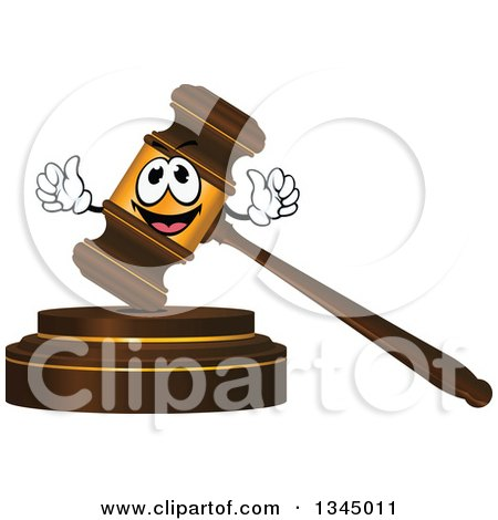 Clipart of a 3d Wood and Gold Gavel Character - Royalty Free Vector Illustration by Vector Tradition SM