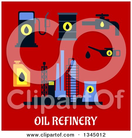 Clipart of a Flat Design Industrial Plant, Oil, Pump, Pipes and Fuel Station with Text on Red - Royalty Free Vector Illustration by Vector Tradition SM