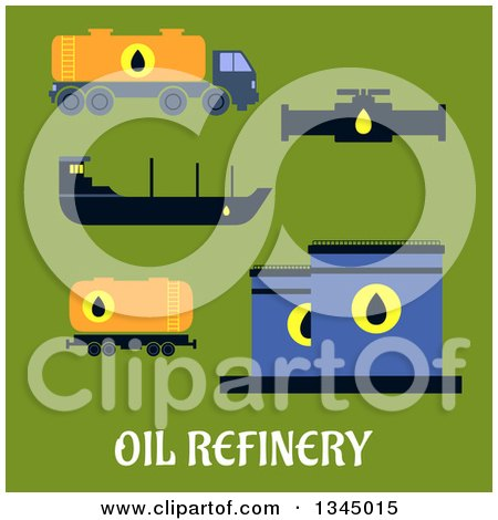 Clipart of Flat Design Oil Tankers, Pump, Truck and Tank Designs on Green - Royalty Free Vector Illustration by Vector Tradition SM
