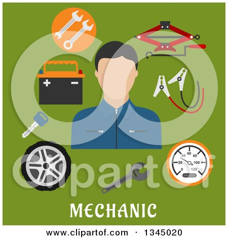 Clipart of a Flat Design Mechanic Avatar with Jack Screw, Wheel, Key, Wrench and Battery Items over Text on Green - Royalty Free Vector Illustration by Vector Tradition SM